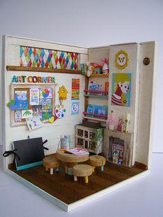 ♡ ♡ Escena a escala 1:12 hecha a mano Rincón artístico por Pequeneces