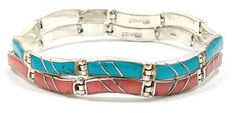 A set of Mexican bracelets with coral and turquoise colored glass inlays.