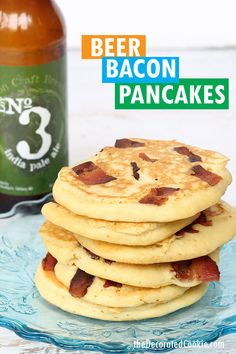 Beer and bacon pancakes for the best breakfast ever. Father's Day breakfast idea, or just for everyday, whip up these delicious pancakes. Father's Day Breakfast, Quick And Easy Breakfast, Pancakes And Bacon, Tasty Pancakes, Bacon Recipes, Brunch Recipes, Best Comfort Food, Comfort Foods, Delicious Breakfast Recipes