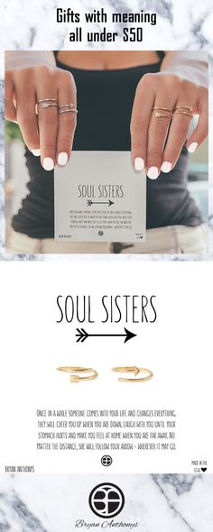 Soul Sisters Rings - perfect gift for your sister or bestie. Also available as necklaces & bracelets! All jewelry under $50