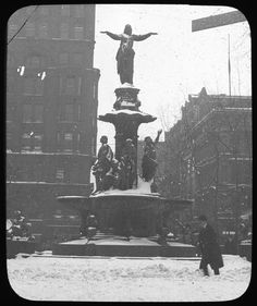The Tyler Davidson Fountain on a snowy Cincinnati day, circa Cincinnati Library, Cincinnati Baseball, Cincinnati Reds, Cleveland, Loveland Ohio, Travel Design, Columbus Ohio, Vintage Photographs, Old Pictures