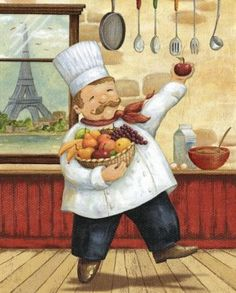 Daphne Brissonnet Premium Thick-Wrap Canvas Wall Art Print entitled Happy Chef I, None
