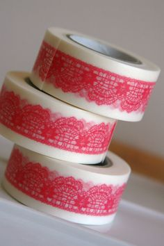 Washi Tape in Chiffon Pink Lace  ONE ROLL by SewFineFabric on Etsy, $5.70