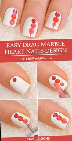 Easy Tutorials of Hot Valentines Nails Designs Easy Drag Marble Heart Nails Design The post Easy Tutorials of Hot Valentines Nails Designs appeared first on Daily Shares. Nail Art Diy, Cool Nail Art, Diy Nails, Cute Nails, Easy Diy Valentine's Nails, Tape Nail Art, Heart Nail Designs, Simple Nail Art Designs, Diy Nail Designs