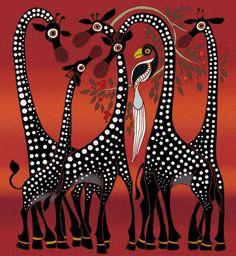 (Tinga Tinga) Giraffes, Tingatinga art of Tanzania. Gond Painting, Painting Tips, African Art Paintings, Africa Art, Aboriginal Art, Art Drawings Sketches, Tribal Art, Indian Art, Art Images
