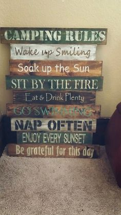 Camping/Lake Rules Sign by RomansRdDecor on Etsy