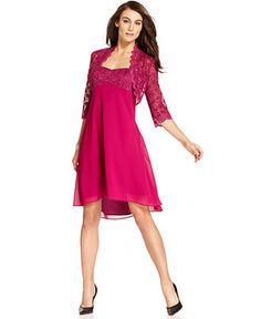 R Richards Petite Dress and Jacket, Sleeveless Lace Sequin High-Low Hem - Womens Petite Dresses - Macy's