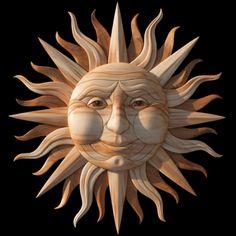 Sun Scroll Saw Wood Intarsia Pattern