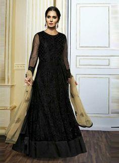 Black wedding wear designer Indian anarkali frock in net
