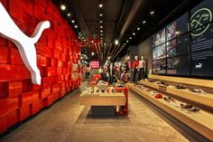 Sports Store Retail Design Shop Interior Sports Display ARE Association for Retail Environments Design Shop, Store Design, Visual Merchandising, Puma Store, Soho, Design Commercial, Denim Look, Shoe Display, Shop House Plans