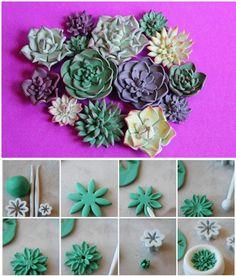 Cake Art Flower Moulding Paste Instructions : 1000+ images about Sugar succulents on Pinterest ...