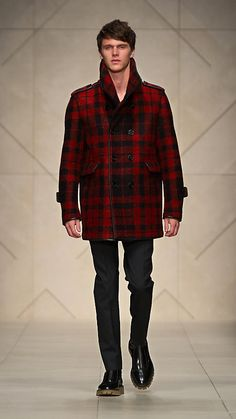 Burberry Prorsum - check brushed wool leather bound pea coat