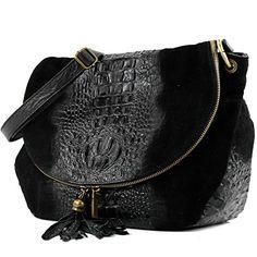 modamoda de - ital. Tasche Damentasche Handtasche Umhängetasche Schultertasche Ledertasche Wildleder/Kroko T68 , Präzise Farbe:Schwarz Wildleder/Kroko Large