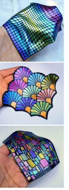 Gorgeous multicolored clay sheets created by Eleni Tsaliki, possibly with stencils and paints, as seen on The Polymer Arts blog, www.thepolymerarts.com