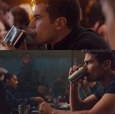 Tobias in Divergent vs. Divergent Theo James, Divergent Four, Tris And Tobias, Divergent Hunger Games, Tris And Four, Divergent Fandom, Divergent Funny, Hunger Games Humor, Divergent Trilogy