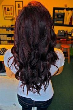 Mmmm...dark chocolate hair color with a dab of red mixed in. So pretty when the sun hits it