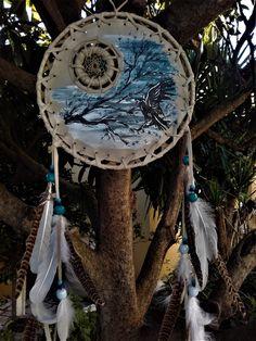 "Bouclier de protection  - mandella amérindien - attrape rêves -""Dream Moon"" - ref: M 161202 de la boutique IndianHeritageArts sur Etsy"