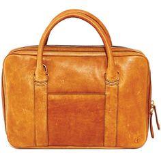 Tobacco Brown Slim Horween Leather Briefcase