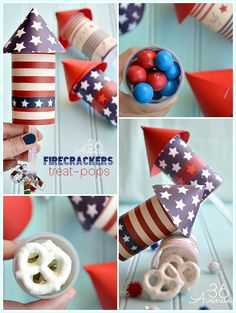 4th of July Firecracker Treat Pop TUTORIAL at the36thavenue.com. These are super festive and easy to make. #4thofjuly