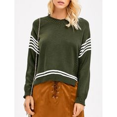 Hunter Green Stripe Sleeve Sweater
