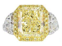 6.21ct Fancy Yellow/Vs2 Radiant Diamond Three Stone Engagement Ring