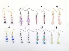 Dangle Bead Earrings - Silver, blue - Handmade - Womens Jewelry