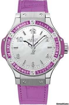 #Hublot Big Bang Mother of Pearl Dial 48 Amethyst Baguettes Purple Rubber Unisex #Watch White gold set with 48 amethyst baguettes bezel. $ 11,960 #watches
