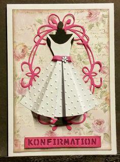kortblogger: 6 stk kort. Homemade Greeting Cards, Greeting Cards Handmade, Diy Paper, Paper Crafts, Confirmation Cards, Prima Doll Stamps, Dress Card, Beautiful Handmade Cards, Diy Cards