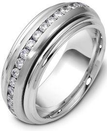 Designer 14 Karat White Gold Unique SPINNING 37 Diamond Eternity Band Ring