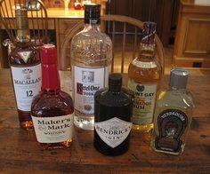 The basics: Vodka, Gin, Scotch, Bourbon, Rum, Tequila. Via the Melissa C. Morris blog.