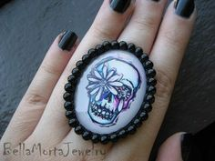 http://www.bellamortajewelry.com Image of Flower Skull Ring - Zombie Romance