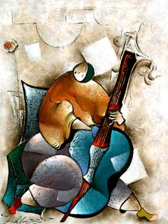 Cello Blues by David Schluss.  This artist has a great series of musician and dance paintings!