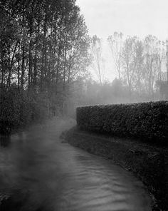 This weeks featured fine art photograph...  Noncello River  The morning fog was lifting from the water when I crossed the bridge, a surreal scene that made me think of the mythic river Styx. The manicured bank and trimmed hedge on the right shielded a factory parking lot from the savage and unruly opposing bank. While setting up my camera I had to ask myself which side was Hades on?  Copyright © Marco Zecchin