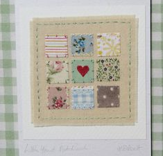 Mounted on to greeting card, made by artist and designer. cotton prints, with the addition of a tiny applique heart in the centre. Each of the squares is stitched into place by hand. Each of my miniature hand-stitched textiles is mounted onto a single fold greeting card made. | eBay!