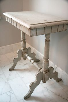 Antique Gustavian Swedish Rectangular Side Table with Carved Apron and Legs.