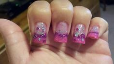 Pink and purple fade with bling ¤lightning nails¤