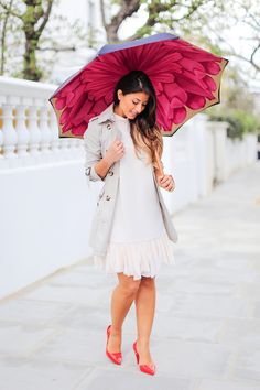 "Mimi Ikonn ""Rainy day lookbook"" – Burberry trench coat, Topshop dress, Melissa heels, Michael Kors watch, Brellini umbrella | Full video here: https://www.youtube.com/watch?v=qZuHfezFHLg"