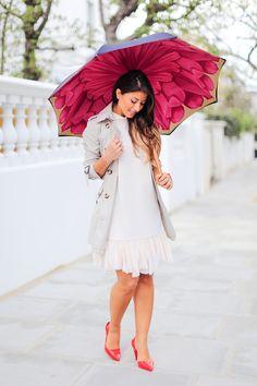 "Mimi Ikonn ""Rainy day lookbook"" – Burberry trench coat, Topshop dress, Melissa heels, Michael Kors watch, Brellini umbrella   Full video here: https://www.youtube.com/watch?v=qZuHfezFHLg"