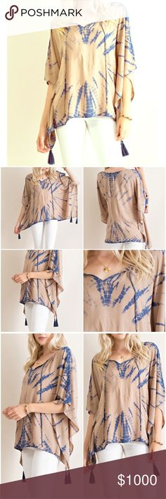 Just in▪️tie dye top with tassels I love this piece! V silhouette neckline with ties. Woven. Non sheer. Very airy and light weight. Tie-dye boxy top with tassel on hem. True to size. High quality piece. Color is slate blue. Will be prices only at $44. Boutique Tops