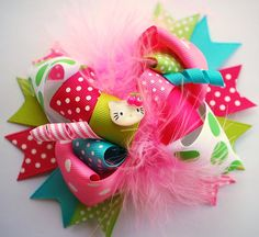 boutique FUNKY fun GUMBALL hello KITTY hair bow clip by andjane, $12.99