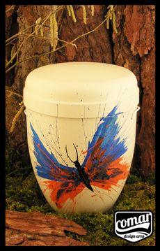 Bestattung Urne mit Schmetterling COMAR Urne funeral urn with butterfly, white, cremation urn