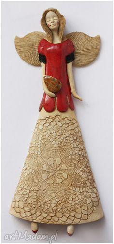 Anioł torebką ceramika wylegarnia pomyslow