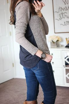 Dear stitch fix stylist- This sweater would be perfect for work or weekend! Valerie Heathered Raglan Top from Laila Jayde - Stitch Fix Mode Style, Style Me, Fall Outfits, Cute Outfits, Casual Outfits, Stitch Fix Fall, Moda Chic, Stitch Fix Outfits, Stitch Fix Stylist