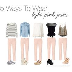 5 ways to wear light pink jeans Pink Jeans Outfit, Colored Jeans Outfits, Jeans Outfit Summer, Casual Dress Outfits, Cute Outfits, Fashion Outfits, Fashion Scarves, Fashion Shoot, Fashion Fashion