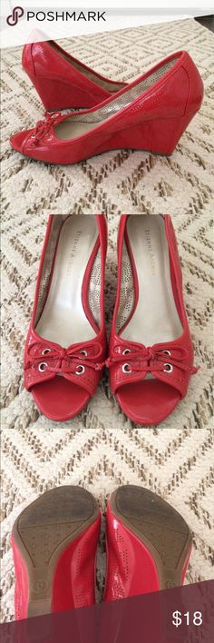 "Etienne Aigner coral wedges Price is firm. Super comfortable 3"" heel. Etienne Aigner Shoes Wedges"