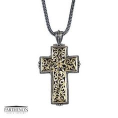 Greek handmade, Gerochristo Silver and Solid Gold Filigree Byzantine Cross Pendant. This gorgeous Cross is from our Silver and Gold Cross Collection. The Cross is approx. Ebay Shopping, Greek Jewelry, Gold Filigree, Gold Cross, Byzantine, Cross Pendant, Solid Gold, Handmade Jewelry, Crosses