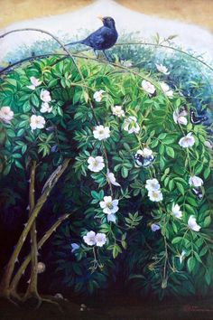 Wild Rose Bush, oil on canvas cm Bird Paintings On Canvas, Large Canvas Prints, Nature Paintings, Animal Paintings, Landscape Paintings, Original Paintings, Art Prints, Original Artwork, Oil Paintings