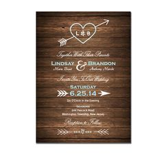 Wood Wedding Invitation DIY PRINTABLE Digital File or Print (extra) Country Wood Wedding Invite Heart and Arrow Wedding Invitation on Etsy, $19.99