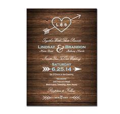 Wood Wedding Invitation DIY PRINTABLE Digital File or Print (extra) Country Wood Wedding Invite Heart and Arrow Wedding Invitation on Etsy, $19.99