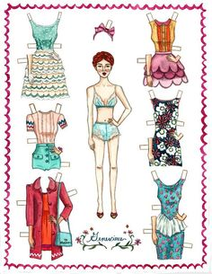 Genevieve Paper Dolls by RachelJablonski on Etsy, $15.00* 1500 free paper dolls at artist Arielle Gabriel's The International Paper Doll Society also free China paper dolls at The China Adventures of Arielle Gabriel, the Canadian travel site on Hong Kong & China